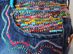 Stunning Beaded Embroidered Jean Large Tote por JaneCohenArtfulBags