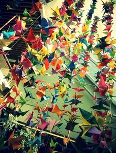 #origami #cortina #pajaritos