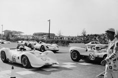On the grid for the 1965 Nassau Trophy race. Hall in his 2C on the left, Sharp in his 2 on the right.  Albert R. Bochroch photo.