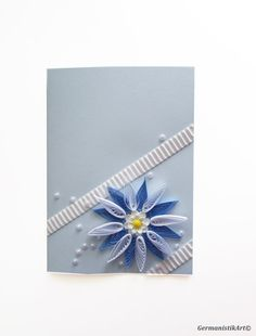 Blank Quilling Card  This greeting card with quilled white blue flower and flat pearls around is great for birthday or anniversary party.  Size: 10.5x15 cm /4.1-5.9 inches/  Package: cellophane envelope, shipping in bubble wrap cover  Material: environmentally friendly, 100% TCF recyclable paper; colored card, glue  Other birthday cards:  https://www.etsy.com/listing/121385361/happy-birthday-card-handmade-quilling?ref=shop_home_feat_3  https:/&#x2F...