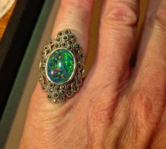 Large Vintage Opal Marcasite ring.Genuine Australian by AmyKJewels
