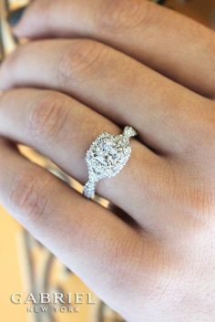 14k White/Rose Gold Cushion Cut Halo Engagement Ring