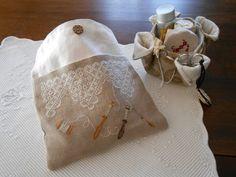 lace making theme cross stitch bag