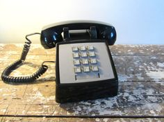 Vintage Phone Push Button Phone Black by VintageShoppingSpree, $45.00