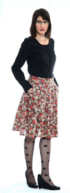 Modest  midi Aline  skirt with floral print by TAMARLANDAU on Etsy, $55.00