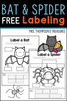 Quick and easy Halloween or fall printable worksheets. Trace, cut, and paste the words onto the pictures to label the spider or bat.