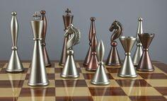 Art Deco Copper/Steel Finish Chess Set (from Fringe Brave New World episode)