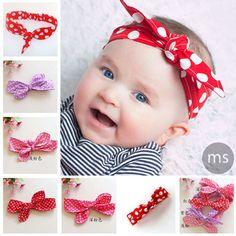 Bebê Knot Headband bolinhas cabeça de envolvimento de algodão Meninas Top Knot Tie Headband Meninas Crianças Moda Headwear 10pcs HB178