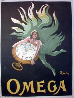 This French poster features a women in green flowing fabric floating on a black background holding a pocket watch. The beautiful Vintage Poster Reproduction is from our catalogue of over 1400 classic posters. Omega watches poster print by Cappiello. Vintage Italian Posters, Vintage Advertising Posters, Vintage Advertisements, Poster Retro, Poster Ads, Poster Prints, Art Prints, Vintage Labels, Vintage Ads