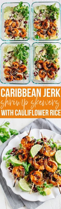 This Caribbean Jerk Shrimp with Cauliflower Rice is super flavorful, deliciously filling and perfect for weekly meal prep! This Caribbean Jerk Shrimp with Cauliflower Rice is super flavorful, deliciously filling and perfect for weekly meal prep! Lunch Meal Prep, Meal Prep Bowls, Healthy Meal Prep, Healthy Eating, Clean Eating, Weekly Meal Prep, Meal Prep For Dinner, Meal Prep Keto, Healthy Meal Planning