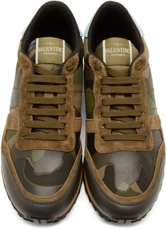 Valentino Green Camo Low-Top Sneakers