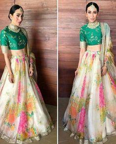 Karishma kapoor yay or Nay at Sonam kapoor wedding Indian Gowns, Indian Attire, Pakistani Dresses, Indian Wear, Sabyasachi Dresses, Choli Designs, Lehenga Designs, Indian Wedding Outfits, Indian Outfits