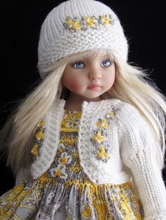 "SMOCKED DRESS,SWEATER,HAT&SHOE SET MADE FOR EFFNER LITTLE DARLING 13"" DOLLS"