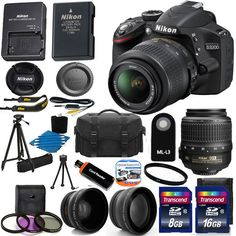 Nikon D3200 Digital SLR Camera + 3 Lens Kit 18-55mm VR NIKKOR Lens + 32GB Bundle