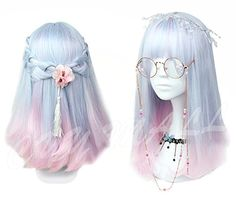 Women Girls Medium Size Harajuku Light Blue Mixed Pink Sweet Lolita Wig Super Natural Club Bob Costume Party Daily Hair with Wig Cap *** More info could be found at the image url. Cosplay Hair, Cosplay Wigs, Kawaii Hairstyles, Pretty Hairstyles, Frontal Hairstyles, Wig Hairstyles, Pastel Wig, Pastel Goth, Pelo Multicolor