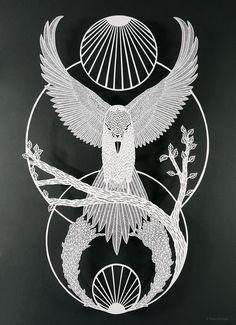 Papercut by Pippa Dyrlaga Bird Of Prey Tattoo, Paper Art, Paper Crafts, Bokashi, Quilling Patterns, Bird Patterns, Paper Cutting, Cut Paper, Indigenous Art