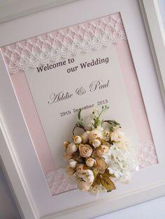 Pegeo Wedding Welcome Board / pinkish rosey