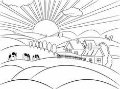 dibujos de paisajes naturales - Dibujos Para Colorear - COLOREARTV.COM Alex Diaz, Vintage Cards, Street Art, Coloring, Inspired, Inspiration, Drawings In Pencil, Scenery Paintings, Landscape Photos