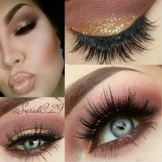 Gorgeous maroon and gold look.. LOVE the lashes