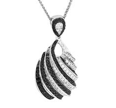 Draw Attention with this Gorgeous 14k White Gold Pendant with Stunning Black and White Diamond Design.