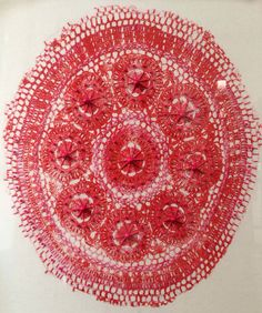 Relief lace print hand embroidered and beaded by Liz Payne