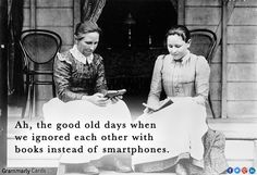 ''Ah, the good old days when we ignored each other with books instead of smartphones.''  source: Grammarly