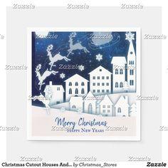 Christmas Cutout Houses And Santa At Night Napkins