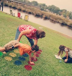 Twister!  This is fantastic, 4 cans of spray paint and you have yourself an afternoon of fun!