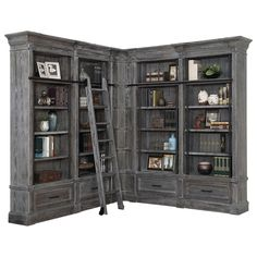 You'll ❤ The Parker House Gramercy Park 5 Piece Corner Library Wall Burnished Smoke Grey GRAM Home Office Furniture, Home Office Decor, Pallet Furniture, Office Ideas, Furniture Projects, Rustic Loft, Library Wall, Library Design, Library Ideas