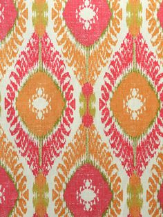 Chimayo Coral Reef sku#116152 This kilim/IKAT print has a vibrant, high-energy palette of orange, green and coral. The fabric is suitable for light upholstery, drapery and window treatments, bedding, table-skirts, and decorative pillows.  forsythfabrics.com
