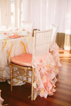 #pink #bridal #brunch | the best chair covers ever | Photography by brianamariephotography.com/
