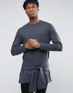 Image 1 of ASOS Longline Long Sleeve T-Shirt With Tie Waist