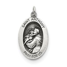 Sterling Silver Antiqued Saint Anthony Medal QC5707
