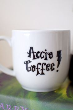 Harry Potter Accio Coffee Spell Hand Painted Mug by abirdinthehand