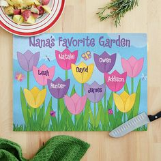 Tulip Garden Glass Cutting Board