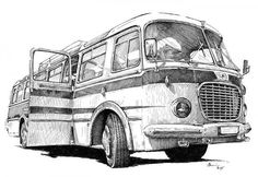 Skoda 706 RTO, Checoslovaquia Bus Art, Land Rover Defender 110, Vintage Drawing, Car Drawings, Harley Davidson Bikes, Automotive Art, House Painting, Old Cars, Pattern Art