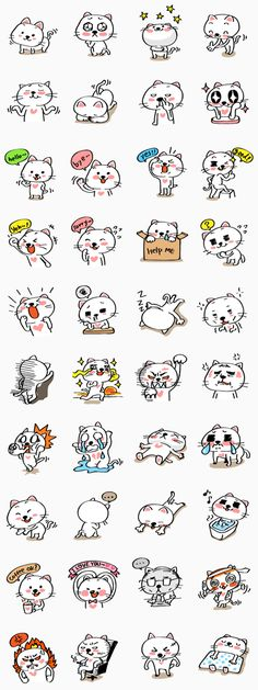 Mochi the cat's full-of-energy personality is displayed in these stickers. You can be sure that you will find a sticker to suit every situation! Kawaii Stickers, Cute Stickers, Cat Emoticon, Note Doodles, Diy Y Manualidades, Anime School Girl, Picture Icon, Little Doodles, Bullet Journal Art