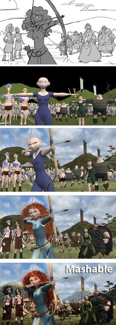 Click to find out EXACTLY how Pixar turns a simple sketch into a stunning CGI scene. // From 'Brave':