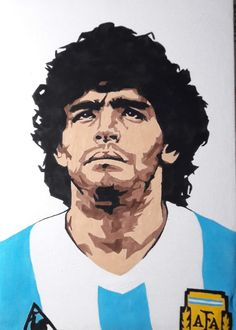D10S Football Paintings, Diego Armando, Soccer Outfits, Nike Football, Ronaldo, Cool Art, Illustrator, Sketches, Hero