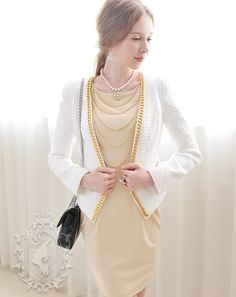 White with Golden Chains Slim Long Sleeve Zipper Pockets Short Suit(img 2)