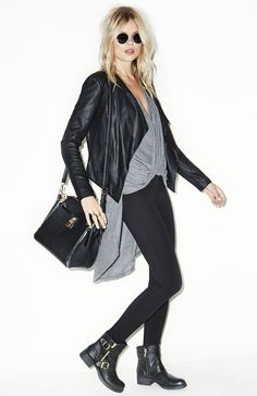 This grey draped blouse is a must-have item for the fall season. Wear it with a pair of black pants, boots and leather jacket for an edgy, yet sophisticated look.