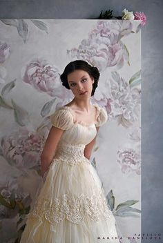 Wedding dress with a Regency flair. Love the unique style - Beautiful!
