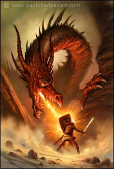 George and the Dragon Paolo barbieri fiabe immortali dantes inferno Dragon Medieval, Medieval Fantasy, Fantasy Creatures, Mythical Creatures, Slayer Tattoo, Dragon Fight, Serpieri, Mythical Dragons, Fire Breathing Dragon