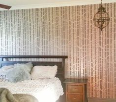 'Like' if you wish you were still laying in bed this morning! 'Share' if you wish this was your Birch Forest stenciled slumber!  Stencil yours! http://www.cuttingedgestencils.com/allover-stencil-birch-forest.html  #cuttingedgestencils #stenciling #wallstencils #stencils