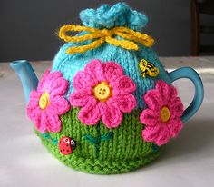 Flower Garden Tea Cosy by Jenny Stacey free knitting pattern on Ravelry at http://www.ravelry.com/patterns/library/flower-garden-tea-cosy