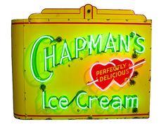 AW - Chapmans Ice Cream Porcelain Neon Sign