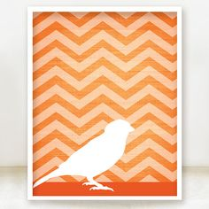 Chevron Bird Print  Tangerine Orange  by spoiledroyalstudio, $15.00