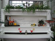 Repurposed piano turned into a mini bar!