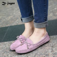2017 Women's Soft Leisure Flats Female Korean Shoes Loafers Ladies Casual Shoes Fashion Woman Flock Leather Shoes Size 35-41
