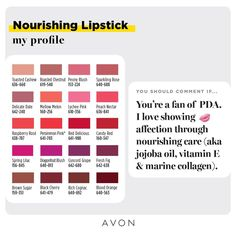 Avon True Color Nourishing Lipstick Give your lips some TLC with high-impact color, moisturizing texture and a creamy feel. Avon Lipstick, Lipstick Colors, Lipstick Swatches, Lipsticks, National Lipstick Day, Root Touch Up, Perfect Lipstick, Avon True, Avon Online